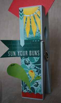 Sun Your Buns Beachy Extra Large Clothespin Photo/Note Holder