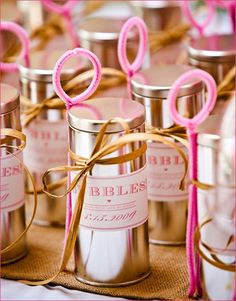 DIY Wedding Favors of Bubbles with blow wands made out of pink pipe cleaners #Cheap #Tins #Easy #Metal