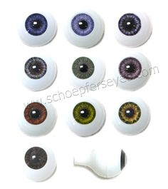 8mm, 10mm or 12mm Glastic Realistic Acrylic Doll Eyes - One Pair