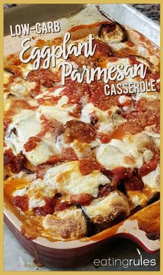 """Low-Carb Eggplant Parmesan """"Pizza"""" Casserole - For a creative way to eat unprocessed and get your """"pizza fix"""" too, give Erika's Low-Carb Eggplant Parmesan Casserole a try. Keto Eggplant Recipe, Eggplant Pizza Recipes, Eggplant Lasagna, Eggplant Chips, Eggplant Moussaka, Eggplant Dishes, Low Carb Recipes, Diet Recipes, Vegetarian Recipes"""