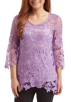 Purple Floral Lace Fashion Top