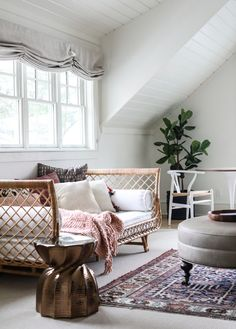 Cozy corner of a charming little girls room at the The relaxed Roman shades are from our friends at Den Furniture, Rustic Furniture, Furniture Ideas, Furniture Websites, Best Interior, Interior Design, Relaxed Roman Shade, Oak Bedroom, Brick Flooring