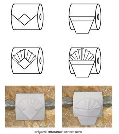 """This toilet paper origami pleated tuck is really pretty. Simply make the TP Basket design and then add a pleated """"square"""" of toilet paper inside the Basket. Toilet Paper Origami, Toilet Paper Crafts, Toilet Paper Roll, Paper Oragami, Napkin Folding, Paper Folding, Toilet Paper Flowers, Towel Animals, Shampoo Bottles"""