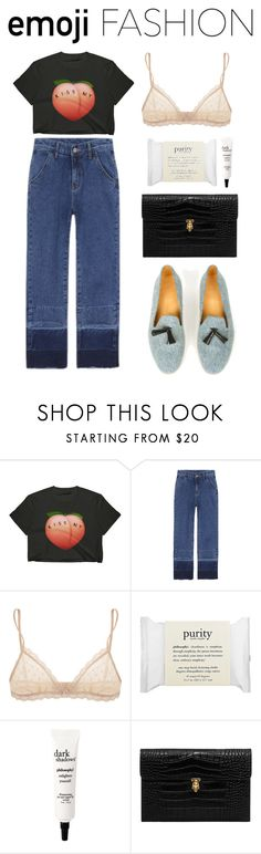 """""""kiss my ass, plz!"""" by srirosalina ❤ liked on Polyvore featuring Eberjey, philosophy, Alexander McQueen, Dieppa Restrepo, ass and emoji"""