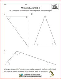 Find the Missing Angles, 5th grade math geometry sheet to find ...
