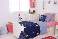 Stars and Gingham Reversible Quilted Throw