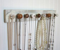 Wall Mounted Jewelry Organizer with Nine Knobs on Etsy, $42.00