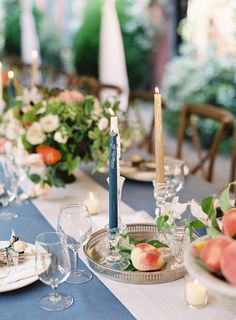 Fruits on the table. Peach, blue candles, hint of gold, blue linen. CHIC RUSTIC REAL WEDDING