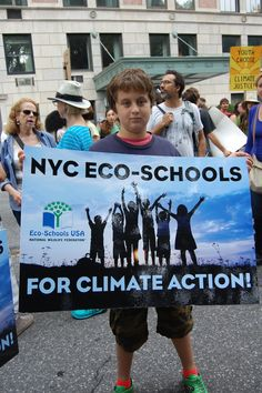 Young World with NYC Eco-Schools joining over 400,000 demonstrators at the People's Climate March in NYC, September 21, 2014