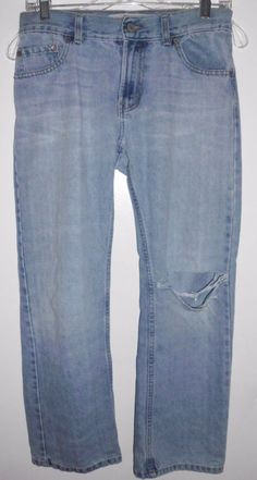 LEVI'S 505 Destroyed Grunge Red Tab Light Denim Blue Jeans 27Lx29W Boy's #Levis #ClassicStraightLeg #Everyday