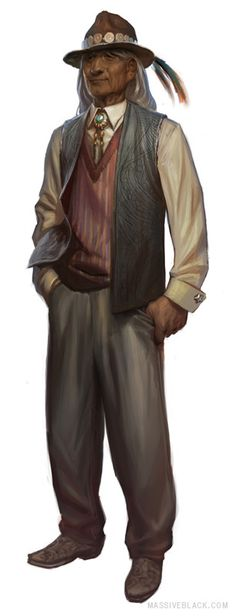 Massive Black : Concept Art shadowrun male character Native American male