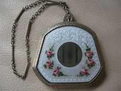 Vintage Art Deco White Guilloche Enamel Silver T Pink Floral Dance Compact LABCO