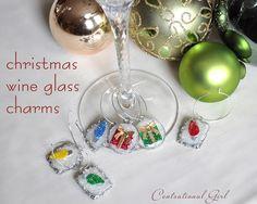 christmas wine glass charms