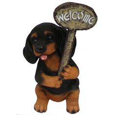 You'll love the Lighted Solar Powered Dark Puppy Dog with Welcome Sign Figure at Wayfair - Great Deals on all Outdoor products with Free Shipping on most stuff, even the big stuff.