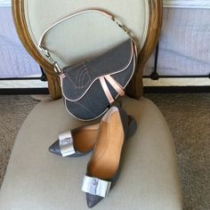 J. Crew leather bow flats J. Crew pointy grey leather bow flats! Excellent condition. NO marks anywhere! J. Crew Shoes Flats & Loafers
