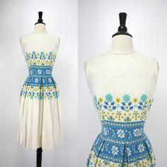 60s Vintage Dress Linen or Blend Cream White by swingkatsvintage