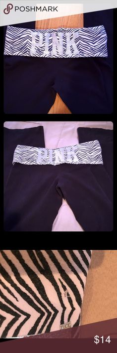 Vs Pink Bling Zebra yoga pants Zebra Print waistband with Pink Bling on back. Tiny hole shown in picture but great condition and super cute! PINK Victoria's Secret Pants Boot Cut & Flare