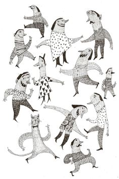 Good mood / ORIGINAL DRAWING / Pen drawing / Party / Jumping / Dancing / Pattern / Sketch / Funny Cat. $50.00, via Etsy.