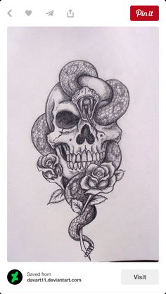 Snake in skull tattoo