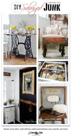 PJ 321 - the BEST DIY salvaged junk! A cross stitch screen, vintage ottoman crate, pallet wood planters, broken barrel garden orb, faux card file, plus!