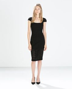 FORM-FITTING GUIPURE DRESS-Plain-Dresses-WOMAN | ZARA United States