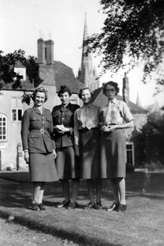 1943 Approx Dorothy's mum Ethel looked after Barbara through the war while Gran joined the 'Auxiliary Territorial Service' (ATS) and went to work for Lord and Lady Lawrence as a secretary. She worked in a beautiful old house called 'The Wardrobe' in Wilton, Nr Salisbury. This was originally Henry VIII's wardrobe? She drove a Renault. These photo's look like they were taken at that time. 1. Dorothy is second from left, Salisbury Cathedral behind. 2. Dorothy is seated left.