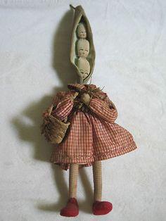 Vintage Vegatable Head Fairy Doll Three Peas in A Pod Made in Italy | eBay