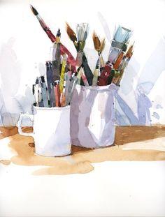 Studio still life and sketching materials