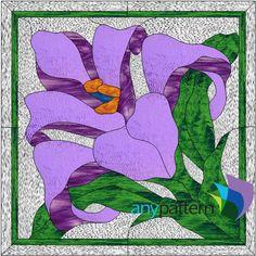 Stained Glass iris Pattern | Purple Iris with Frame-10 X 10- anypattern.com stained glass pattern