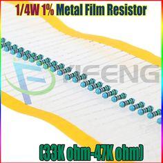 Nuovo 100 pz 1/4 W 1% resistore a film Metallico 33 K 36 K 39 K 43 K 47 K ohm