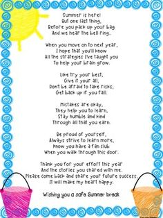 End of the school year poem for a teacher or staff member to give to students on the last day of school with a growth mindset theme.  **Original poem written by Kristi Stanfa of Smart Cookie Classroom may not be copied and distributed for SALE by another seller.