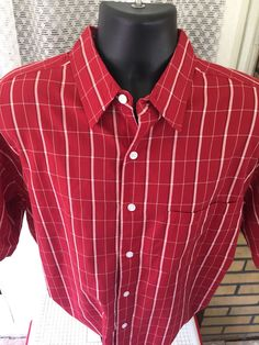 AU Sixty Four Mens Button Front Shirt Size Large Red Plaid 1 Pocket Short Sleeve…
