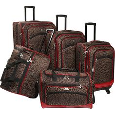 American Flyer 85300-5-LRed Animal Print Leopard 5-Piece Spinner Luggage Set $160