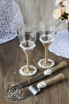 Personalized Champagne Flutes Pearl Cake Server Set Rustic