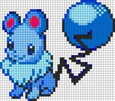 Eevee And Marill Fusion Perler Bead Pattern | Bead Sprites | Characters Fuse Bead Patterns