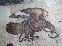 Mosaicos del Gran Palacio águila y serpiente color retocado by Hesperetusa, via Flickr