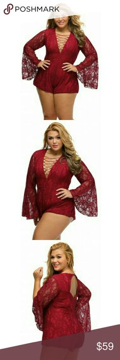 [Plus] Curvaceous Lace Mini Shorts Romper Material is poly and spandex mix. Please allow an additional 3 days for mailing. Lace-up front, long bell sleeves, back cutout, button on nape sand a concealed back zipper. Color may appear slightly darker or lighter in person.   Can be worn to all festive occasions Breaux-Mode Pants Jumpsuits & Rompers