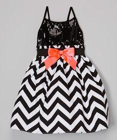 Look what I found on #zulily! Zunie & Pinky Black & White Chevron Sequin Dress - Toddler & Girls by Zunie & Pinky #zulilyfinds