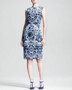 VALENTINO Sleeveless Ceramic Lace Sheath Dress