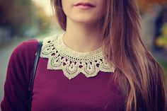 could crochet this and sew onto shirt Cute Fashion, Modest Fashion, Fashion Beauty, Vintage Fashion, Womens Fashion, Crochet Collar, Lace Collar, Beads Jewelry, Crystal Jewelry