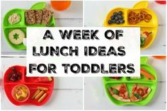 Seven quick, easy and healthy lunch ideas you can feed your toddler this week! Healthy Toddler Lunches, Healthy Toddler Meals, Quick Healthy Meals, Healthy Snacks For Kids, Kids Meals, Toddler Food, Healthy Food, Kid Lunches, Vegan Lunches
