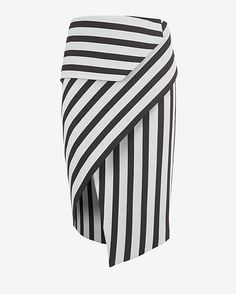 Mason by Michelle Mason Asymmetric Wrap Stripe Skirt: A piece that transitions easily between seasons-- the asymmetric wrap skirt. Stripe Skirt, Striped Dress, Skirt Pants, Dress Skirt, Asymmetrical Skirt, Fashion Design, Seasons, Wrap Skirts, Outfits