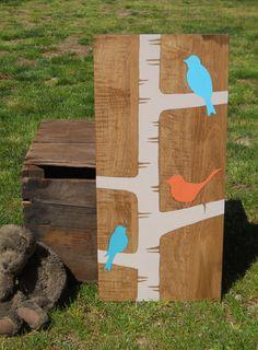 Birds on birch tree, Birds, kids room art, Nursery art, Shabby chic wall art, Nursery decor, Bright, Painting on wood on Etsy, $38.00