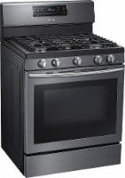 Samsung - 5.8 Cu. Ft. Self-Cleaning Freestanding Gas Convection Range - Black Stainless Steel - Angle Zoom