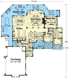Great layout - not design though Dream Mountain Home Plan - Dream House Plans, House Floor Plans, My Dream Home, Log Cabin Floor Plans, Mountain House Plans, Mountain Homes, Story Mountain, Mountain Style, Master Suite