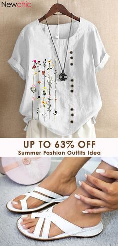 Summer Flower Fashion Outfits #Chic Summer Fashion Outfits, Diy Fashion, Womens Fashion, Shirt Outfit, T Shirt, Sewing Blouses, Salwar Designs, New Chic, Textiles