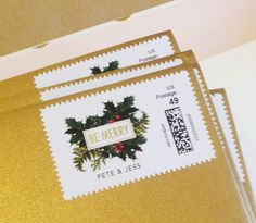 Add personalized postage stamps to your holiday cards #stationery #holiday