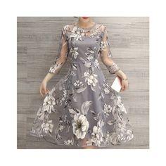 Charming Round Neck 3/4 Sleeve Floral Print See-Through Dress For... (32 BAM) via Polyvore featuring wrap maxi dress, mixed print dress, print wrap dress, patterned maxi dress i maxi length dresses