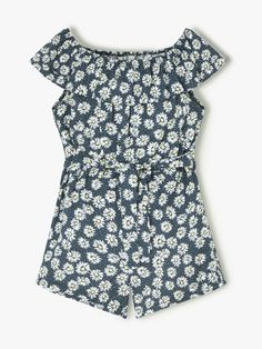 Buy John Lewis & Partners Girls' Daisy Print Playsuit, Blue from our Girls' Dresses range at John Lewis & Partners. John Lewis, Girls Playsuit, Daisy, Jumpsuits For Girls, Our Girl, Playsuits, Summer Girls, Stretchy Material, Girl Outfits