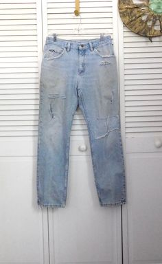 Mens Levi Jeans 550 Retro Industrial Grunge Hippie Patchwork Bohemian Pants Upcycled 34 x 32 Red Plaid Flannel Medium Wash Destroyed fyPwZHBxL